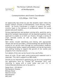 uk job events coordinator luton catholicyouthwork com