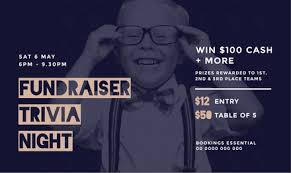 fundraiser trivia night template with young boy in glasses in