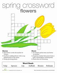 spring flowers crossword crossword second grade and puzzles