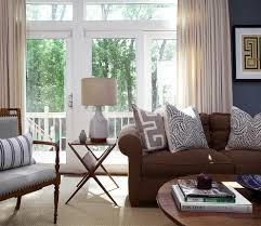 Accent Pillows For Brown Sofa by Brown And Blue With Exposed Brick Living Room Industrial And Linen