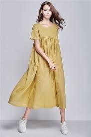 yellow linen dress for women extravagant flattering loose dress