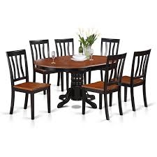 Wood Dining Room Tables And Chairs by Amazon Com East West Furniture Avat7 Blk W 7 Piece Dining Table