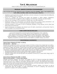 Senior Project Manager Resume Resume Construction Project Manager Resume