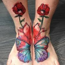 black and grey hibiscus flower tattoo on foot