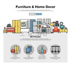 home interior website one page web design template with thin line icons of home interior