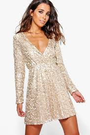 boo hoo clothing boutique sequin wrap skater dress boohoo