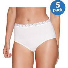 Vanity Fair Cotton Briefs Hanes Women U0027s Cotton Brief With Lace 5 Pack Walmart Com