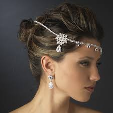 bridal headband silver clear rhinestone floral bridal headbands