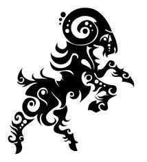 tribal black ink aries design