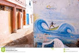 mural on tea shop wall taghazout surf village agadir morocco 2 royalty free stock photo