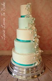 5 tier wedding cake blue teal 5 tier wedding cake with edible lace