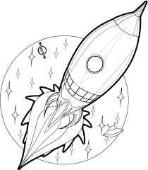 cartoon rocket coloring book colouring black white line art