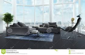modern luxury black and white living room interior stock photo