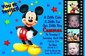 Create 1st Birthday Invitation Card For Free Mickey Birthday Invitations Kawaiitheo Com