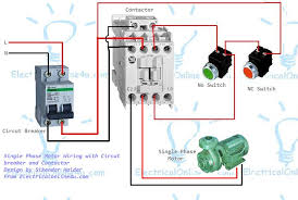 single phase motor wiring with contactor diagram inside electric