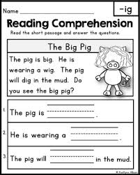 free reading comprehension passages word families u0026 blends by