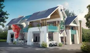 3d sloping roof bungalow day and night rendering u0026 elevation