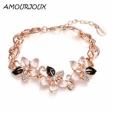 links bracelet rose gold images Amourjoux pretty rose gold color opal cute flower charm bracelets jpg