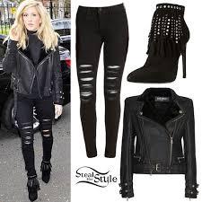 Style Ellie Goulding Ellie Goulding Biker Jacket Fringe Boots Style