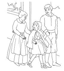 red riding hood mom dad coloring kids