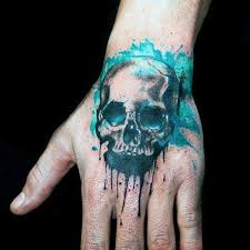 40 watercolor skull tattoo designs for men colorful ink ideas