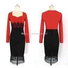 new 2015 red black casual dress women tunic bodycon ol midi lace
