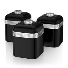 swan set of 3 tea coffee sugar black canisters jar kitchen storage