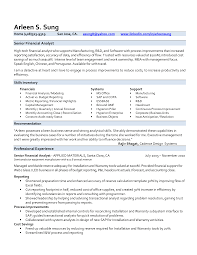 resume format sle for experienced glass senior financial analyst resume exles exles of resumes