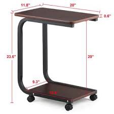 c table with wheels yaheetech living room 2 tier black sofa side end snack table tray