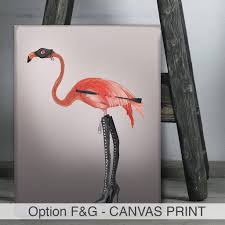 pink flamingo in boots by fabfunky home decor