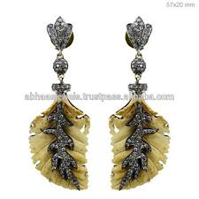 one side feather earring 14k gold gemstone carvings silver diamond fashion one side feather