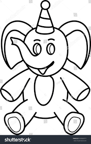 elephant simple line drawing toys stock vector 362863517