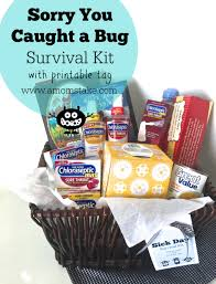 printable tags for gift baskets sorry you caught a bug survival kit free printable house whip