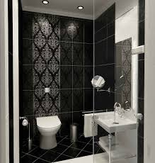 black bathroom design with black marble wall patterned and black