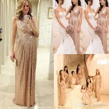 2017 rose gold bridesmaids dresses sequins plus size custom made