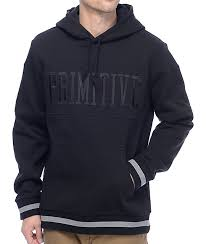primitive league piped black pullover hoodie zumiez