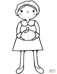 cartoon pilgrim with pumpkin coloring page free printable