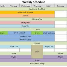 Excel Weekly Schedule Template Editable Weekly Schedule Sle Archives Excel Templates