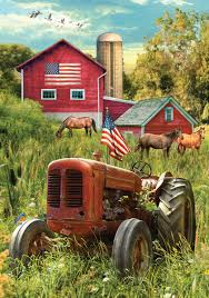 Decorative Garden Flags Rustic Tractor American Flag 840 1200 Usa Patriotic Farm