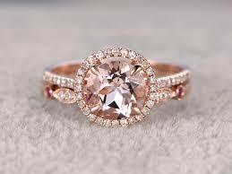 morganite bridal set 1 8 carat morganite wedding set diamond bridal ring 14k