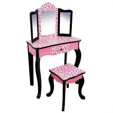 Vanity With Stool Teamson Kids Vanity Table And Stool Set In Black And Pink Leopard