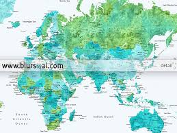 Watercolor Map Of The World by Custom Quote Blue And Green Watercolor Printable World Map With