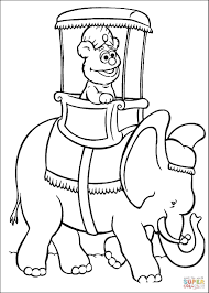 baby fozzie is riding an elephant coloring page free printable