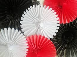 white paper fans black white paper rosettes tissue paper fans for photo