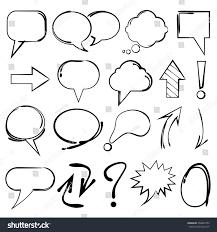 speech bubble sketch highlighter elements circles stock vector