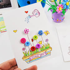 children button painting three dimensional greeting card diy