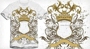 heraldic shield with floral ornaments and crown vector t shirt design