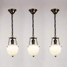 Inverted Pendant Lighting Three Matching Antique Inverted Dome Pendant Lights Opaline Glass