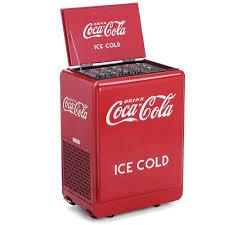 Coca Cola Patio Umbrella by The Classic Coca Cola Refrigerated Chest Hammacher Schlemmer