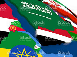Eritrea Map Yemen Eritrea And Djibouti On 3d Map With Flags Stock Photo